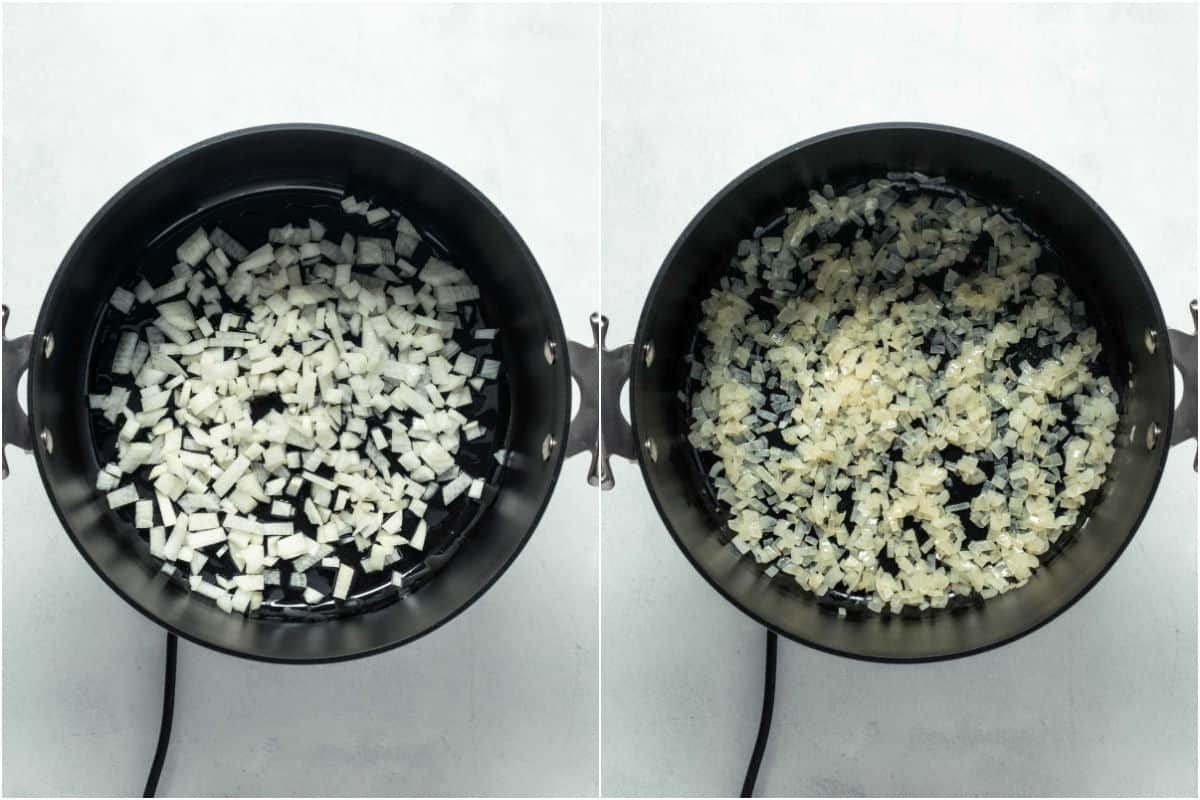 Two photo collage showing onions in a pot and then sautéed.