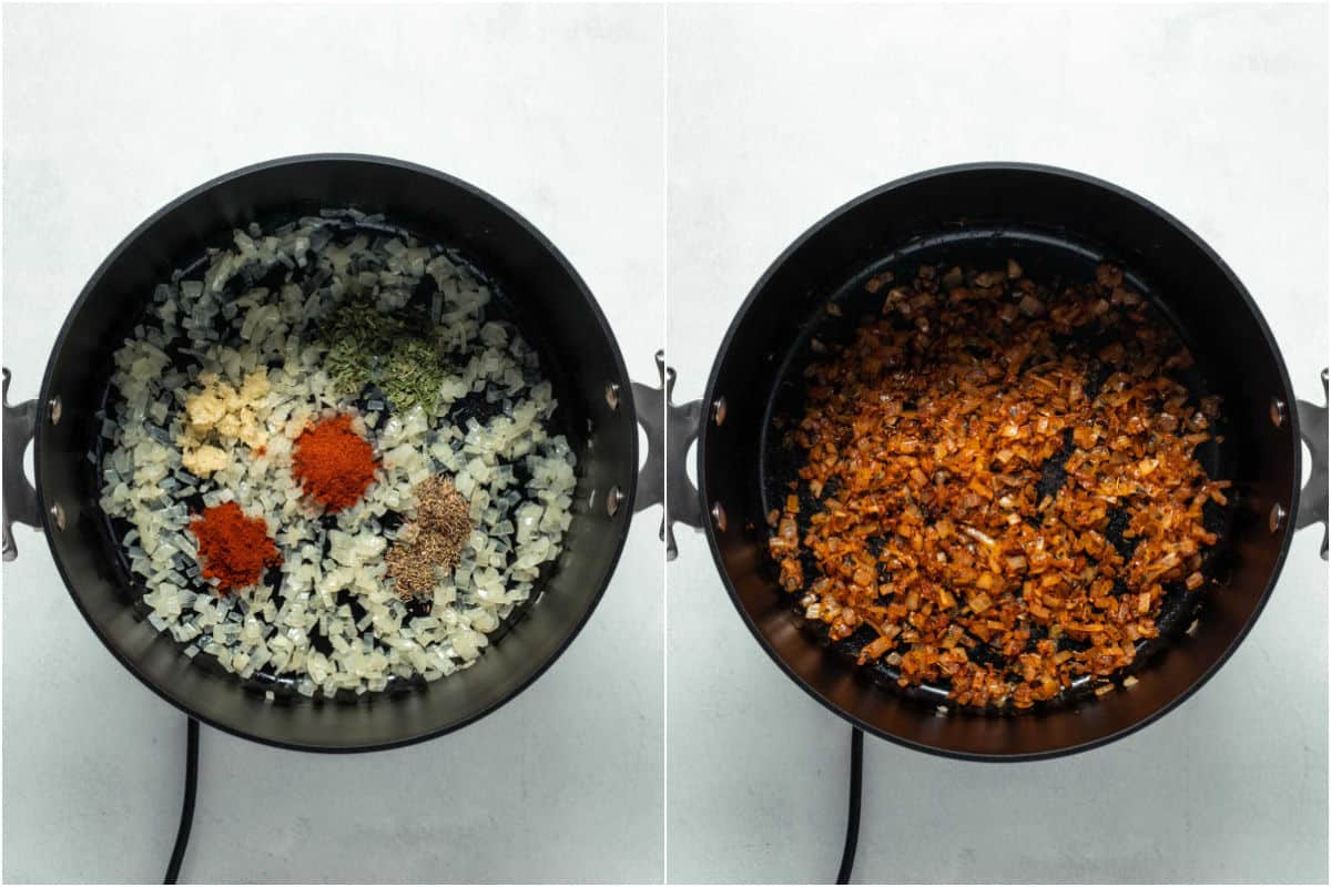 Two photo collage showing spices and garlic added to onions and then sautéed.