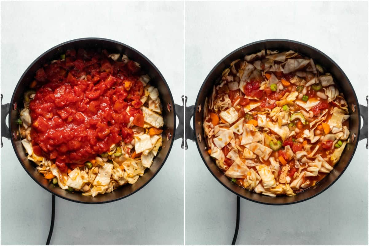 Two photo collage showing vegetable stock and chopped tomatoes added to pot and mixed in.