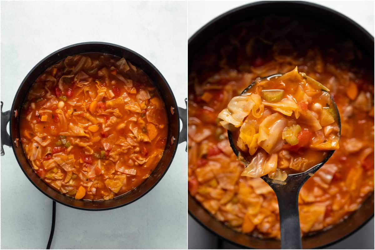 Two photo collage showing cooked soup in pot and with a soup ladle.