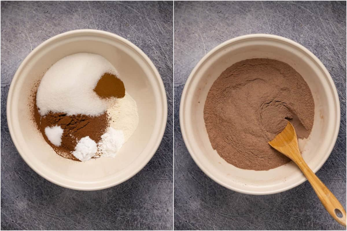 Two photo collage of dry ingredients added to mixing bowl and then mixed together.