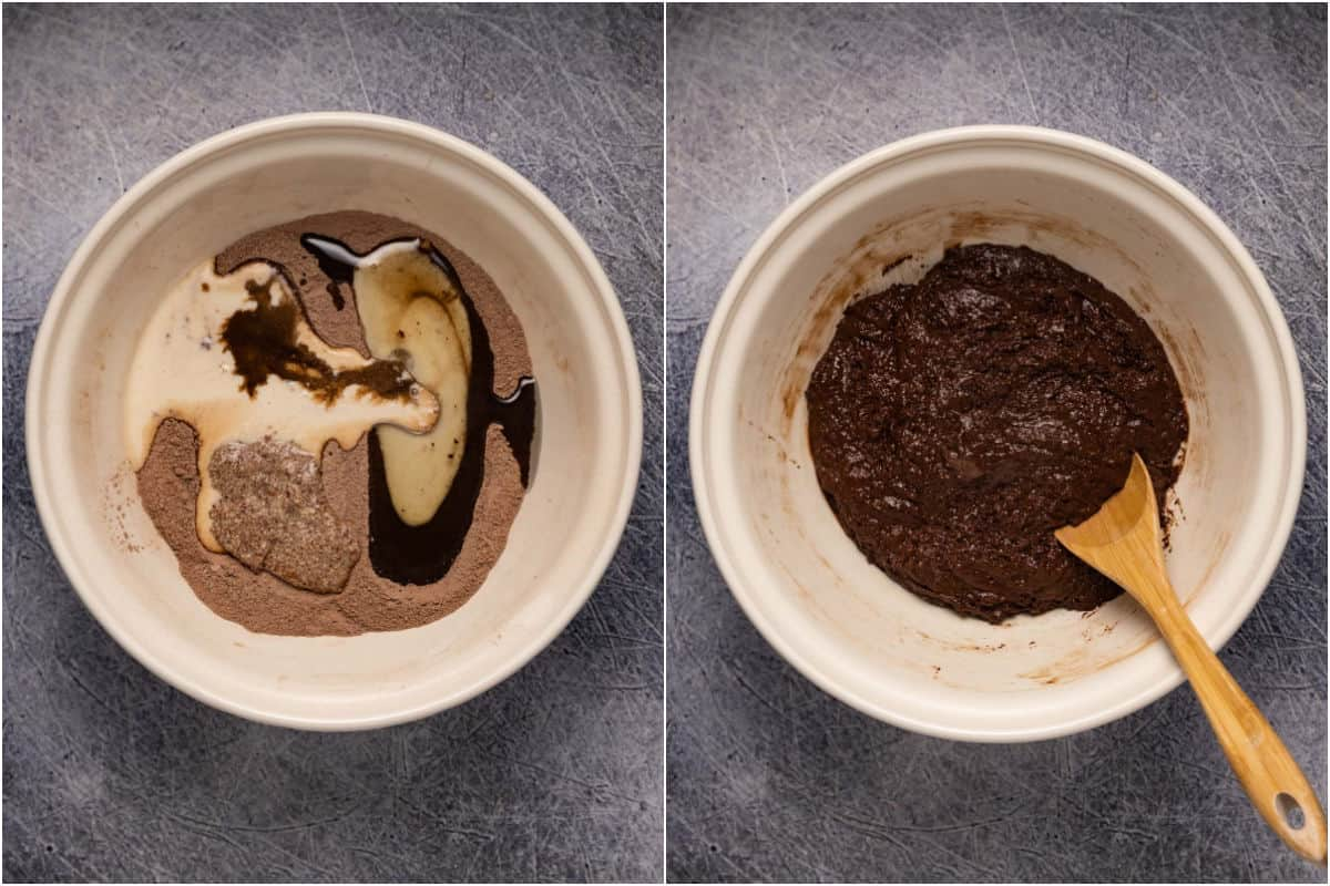 Collage of two photos showing wet ingredients added to mixing bowl and mixed into a cake batter.