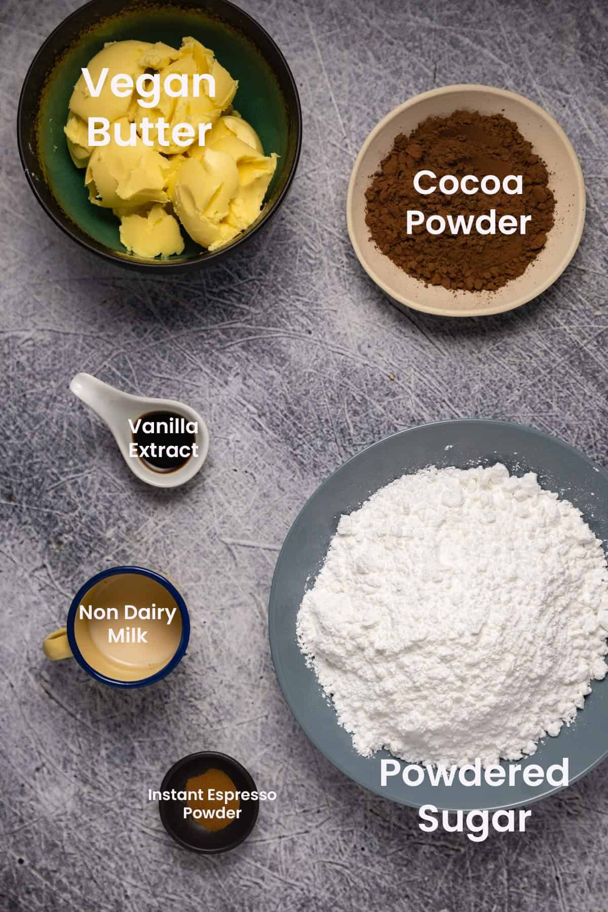 Photo of the ingredients needed to make chocolate buttercream frosting.
