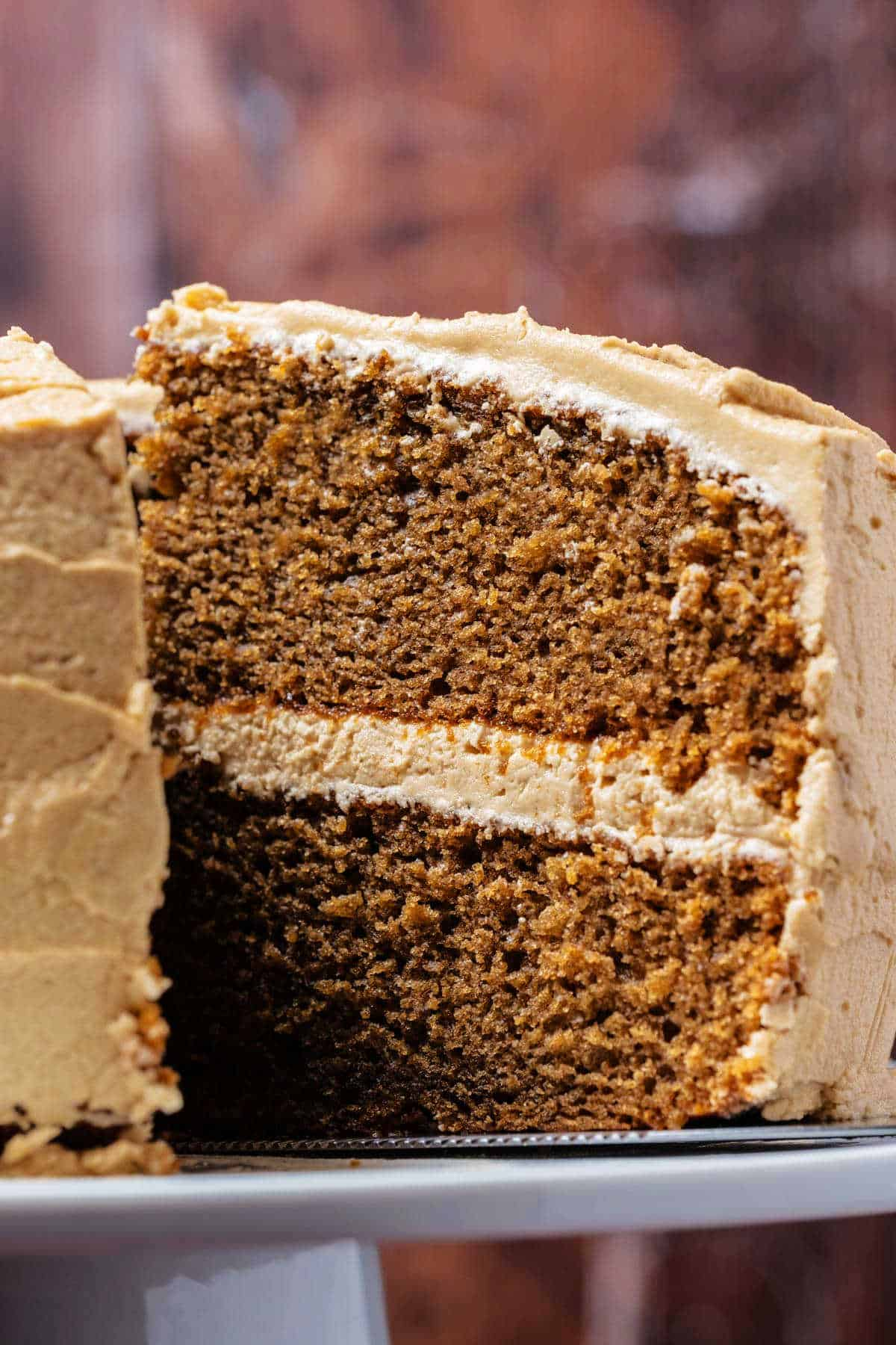Slice of coffee cake on a cake lifter.