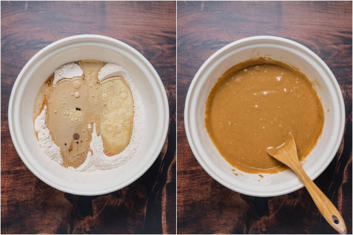Collage of two photos showing wet ingredients added to mixing bowl and mixed into a batter.