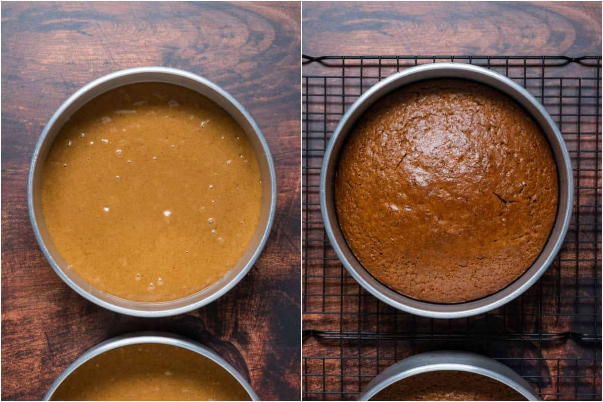 Collage of two photos showing coffee cake before and after baking.