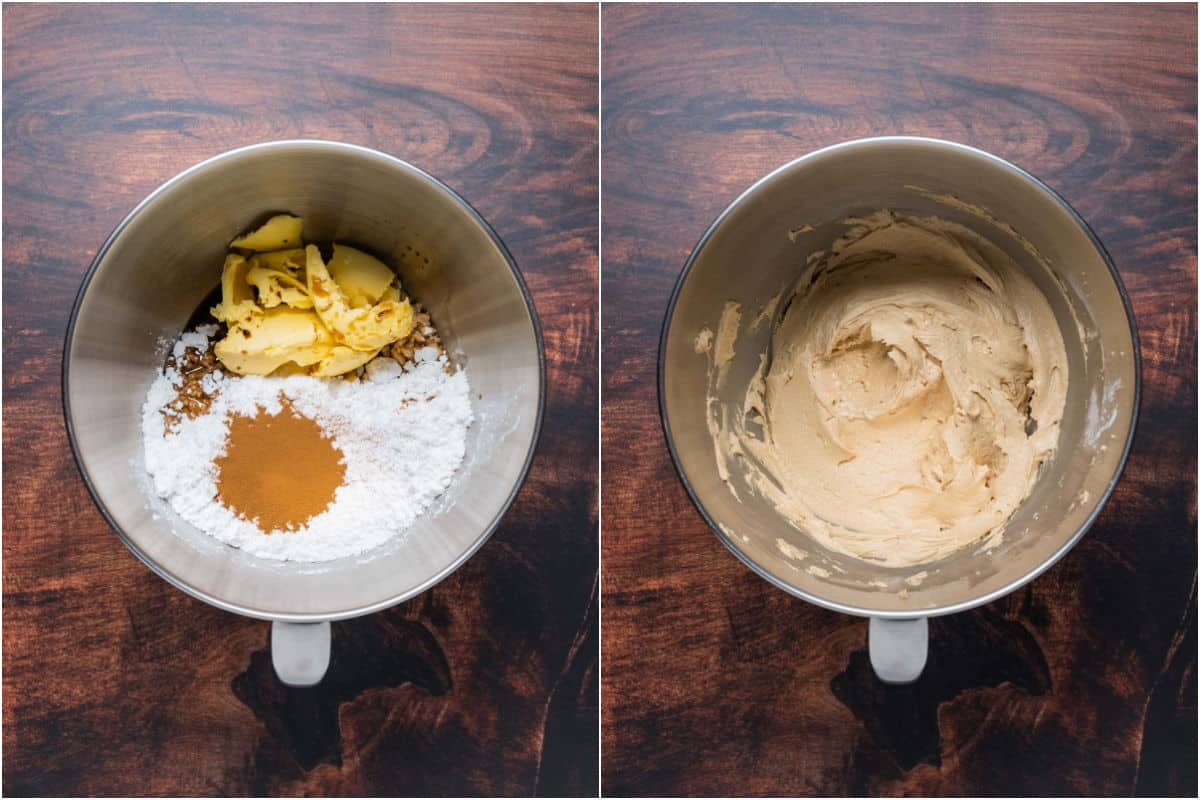 Collage of two photos showing ingredients for frosting added to stand mixer and mixed together.