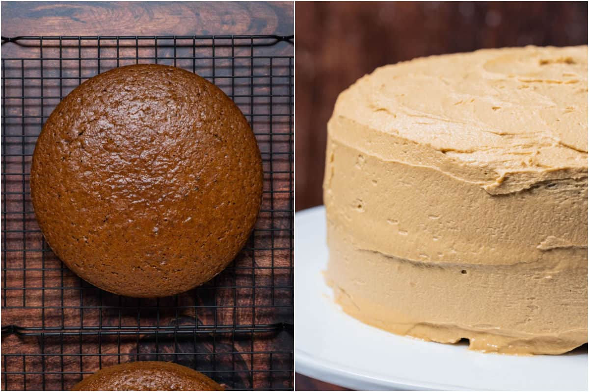 Two photo collage showing cakes cooling on wire cooling rack and then the frosted cake on a white cake stand.