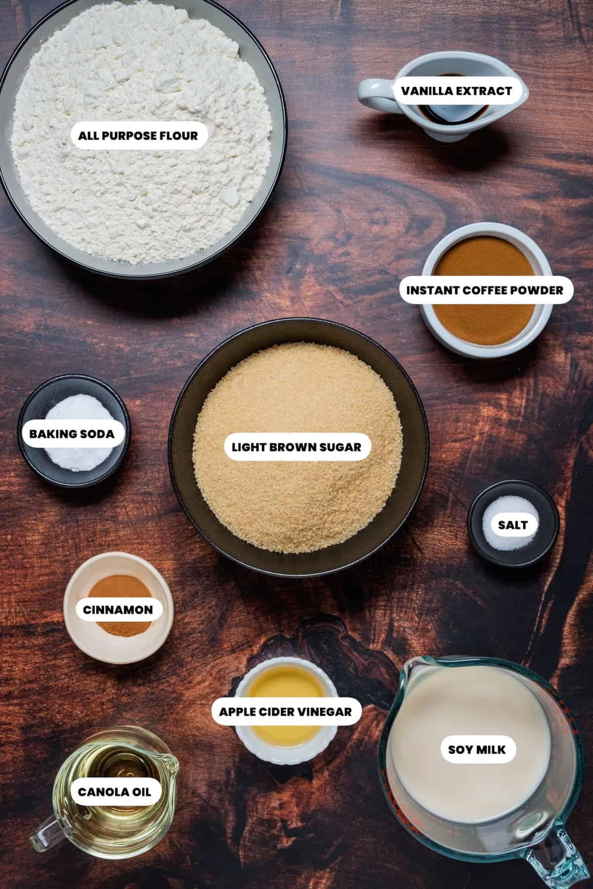 Photo of the ingredients to make vegan coffee cake.