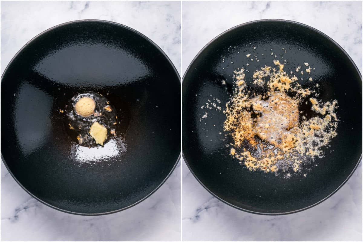 Two photo collage showing garlic and ginger added to a wok with sesame oil and sautéed.
