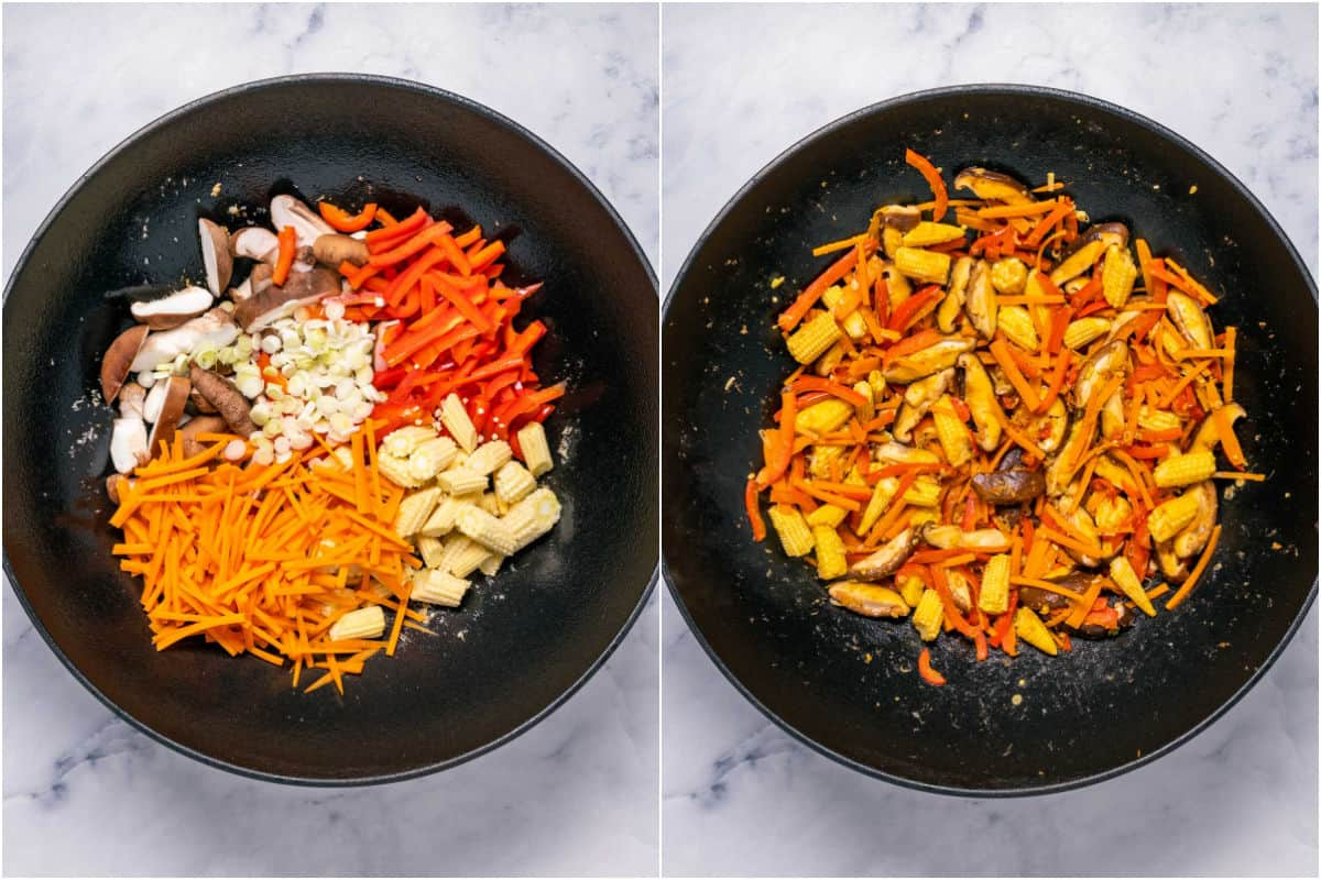 Two photo collage showing veggies added to wok and sautéed.
