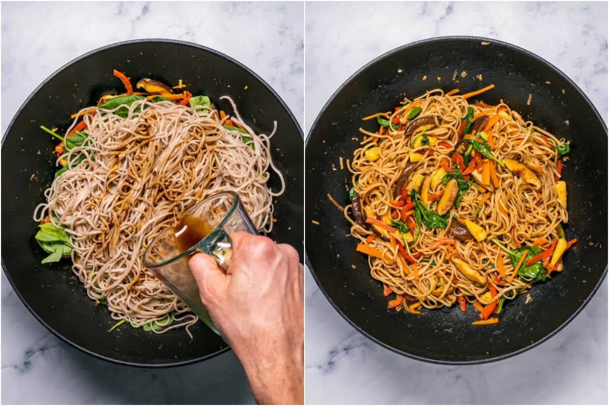 Two photo collage showing spinach, noodles and sauce added to wok and tossed with the veggies.