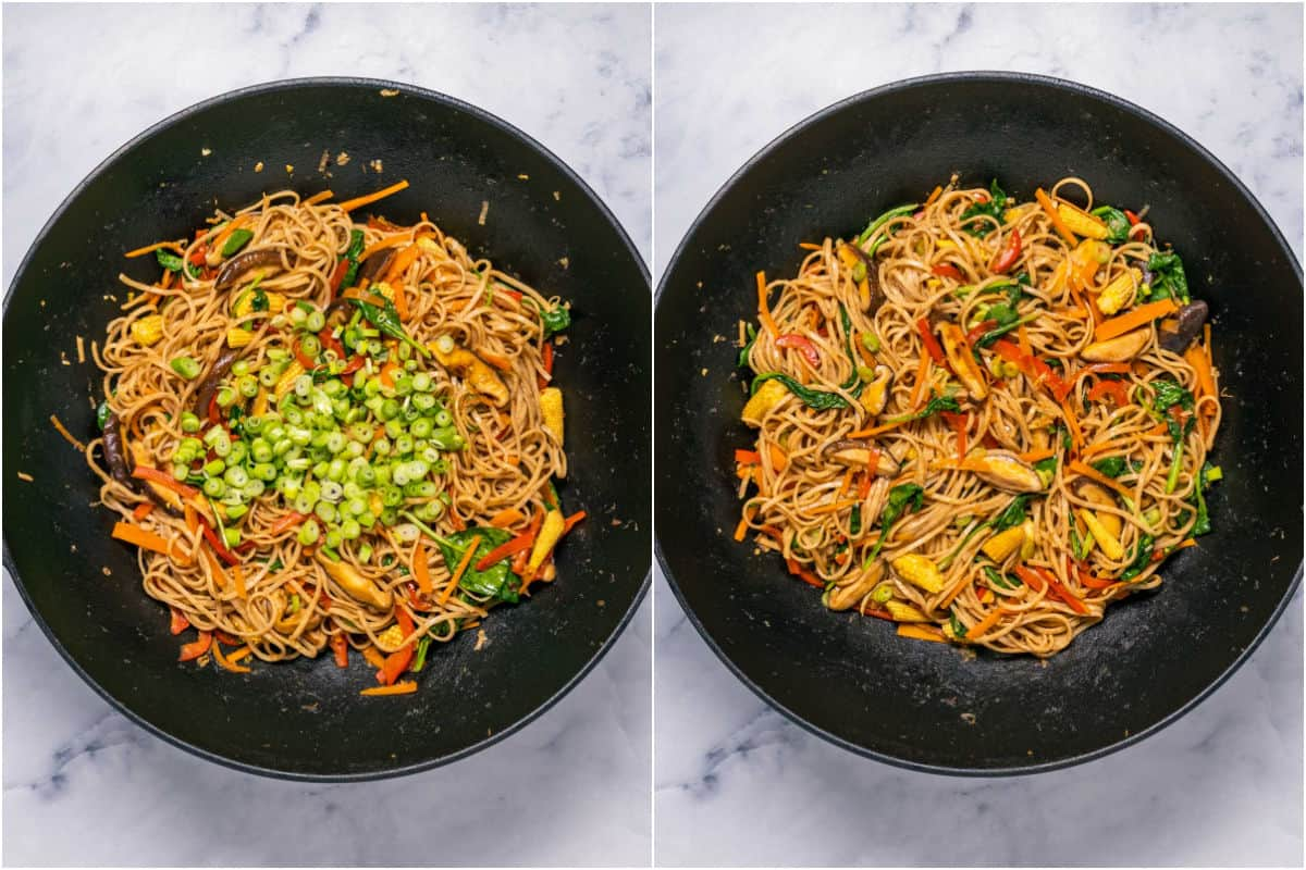 Two photo collage showing chopped green onions added to wok and tossed with the noodles and veggies.