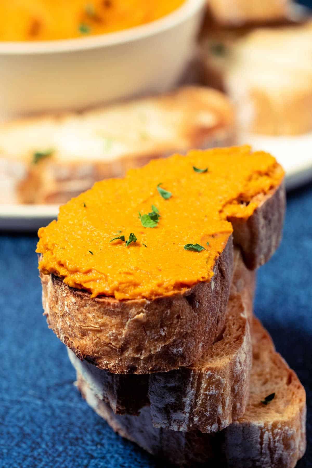 Vegan pâté spread on toast.