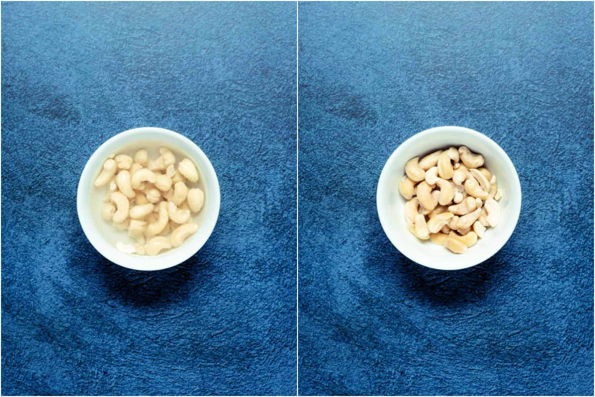 Two photo collage showing cashews soaking in a white bowl and then drained.