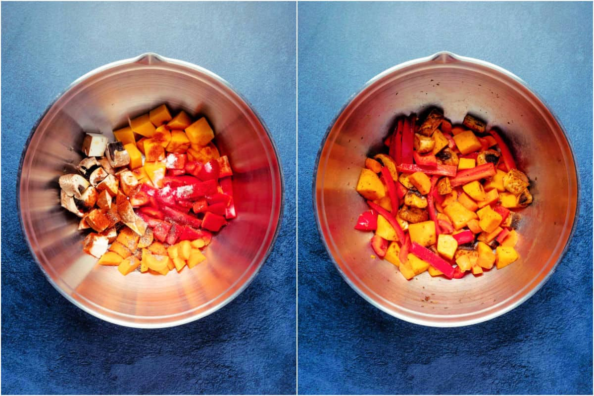 Two photo collage showing vegetables and spices added to mixing bowl and tossed together.