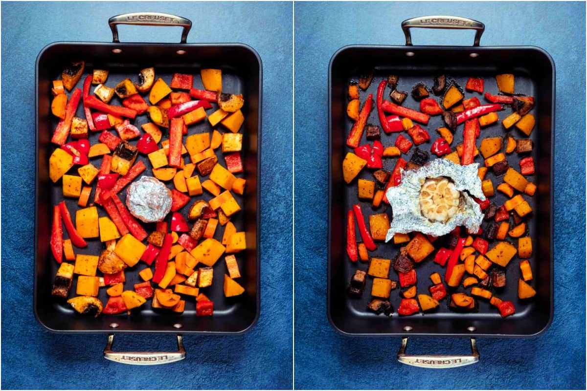 Two photo collage showing vegetables and a head of garlic before and after roasting.