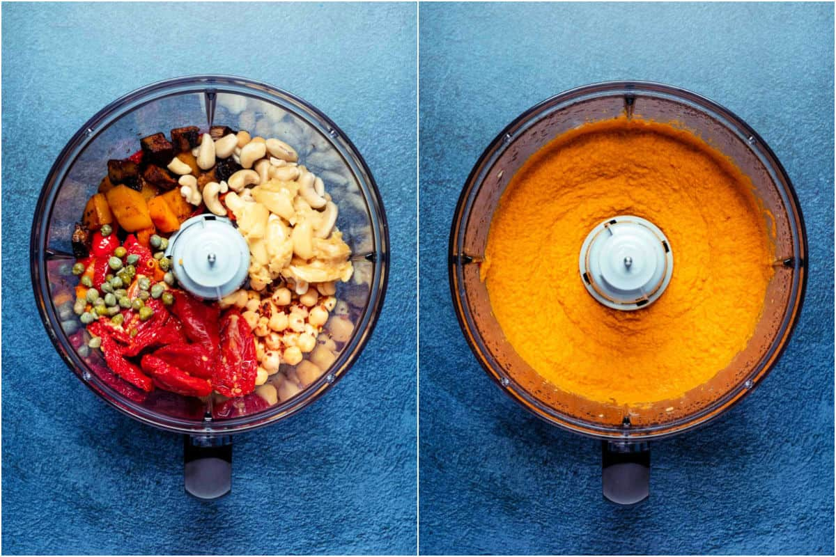 Two photo collage showing ingredients added to food processor and then processed.