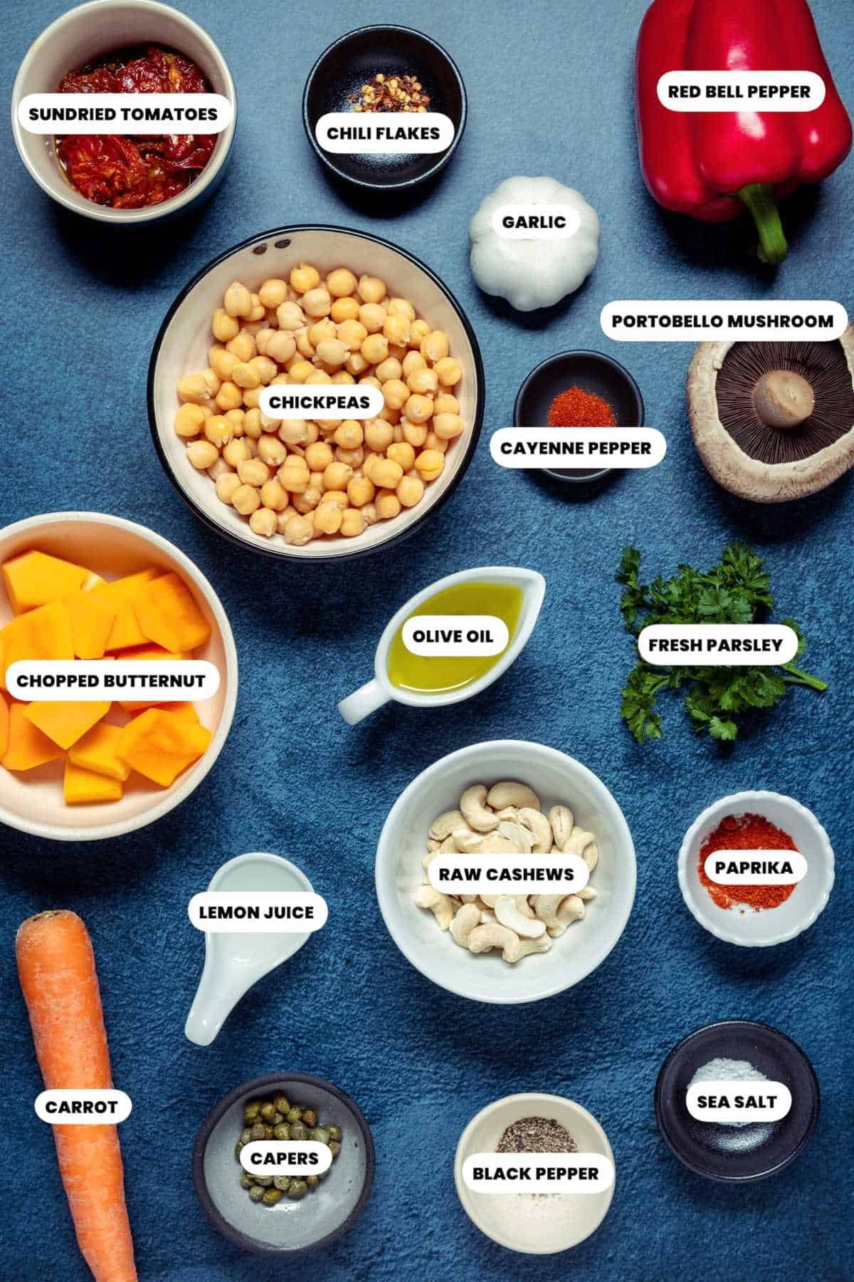 Photo of the ingredients needed to make vegan pâté.