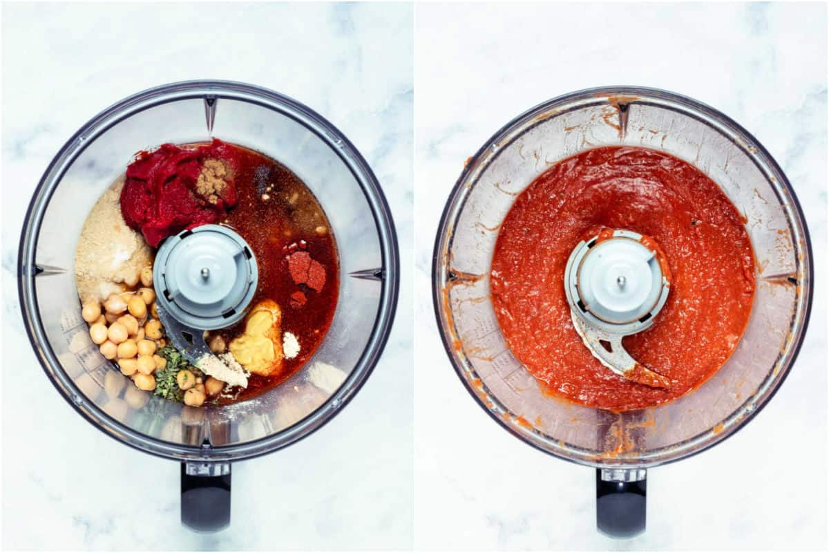 Two photo collage showing ingredients added to a food processor and then processed.
