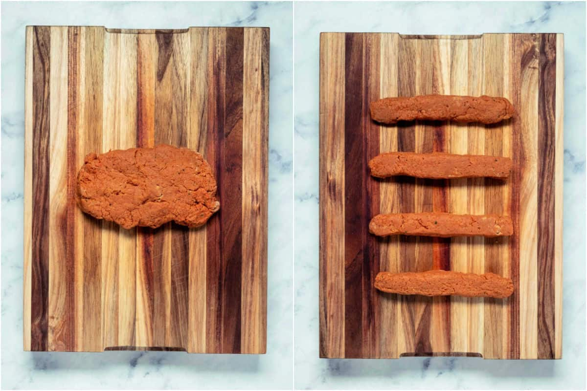 Collage of two photos showing dough on a wooden board and then cut into four pieces.
