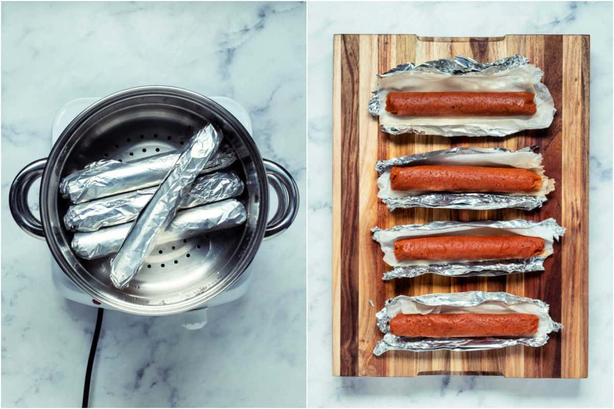 Collage of two photos showing foil covered sausages in steamer basket and then on a wooden board.