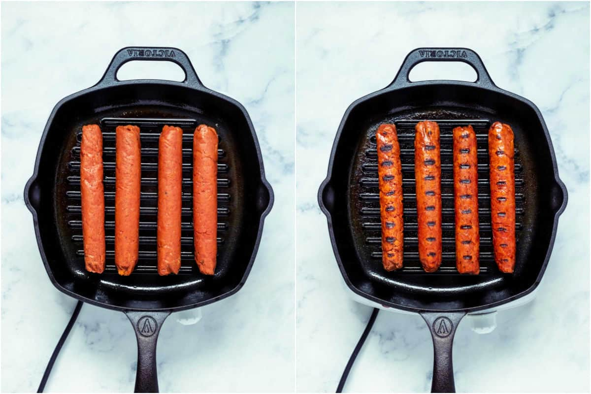 Collage of two photos showing sausages on grill pan and then flipped over with the grill lines showing on the sausages.