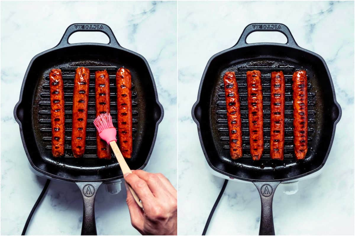 Collage of two photos showing marinade being brushed onto the sausages while they're frying in the grill pan.
