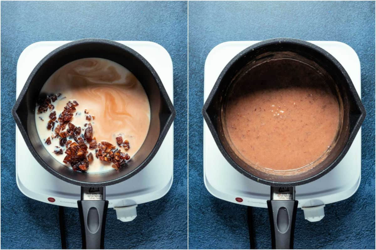 Two photo collage showing dates, soy milk and vanilla added to saucepan and heated together.