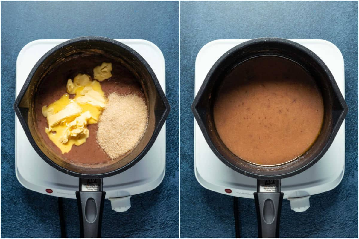 Two photo collage showing vegan butter and brown sugar added to saucepan and melted in.