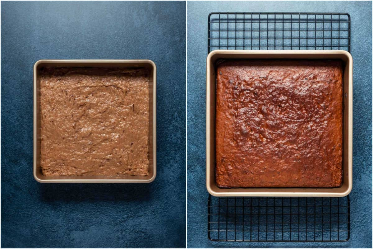 Two photo collage showing cake before and after baking.
