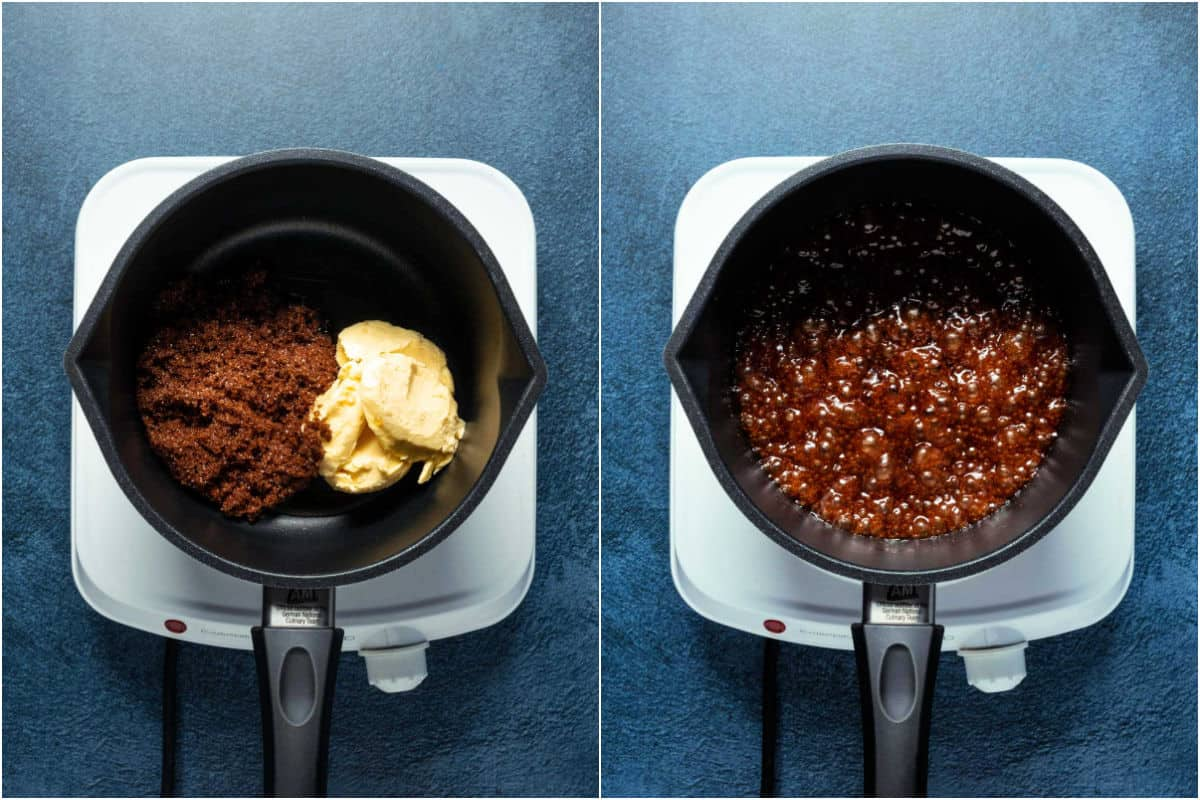 Two photo collage showing butter, maple syrup and dark brown sugar added to saucepan and heated together until bubbling.
