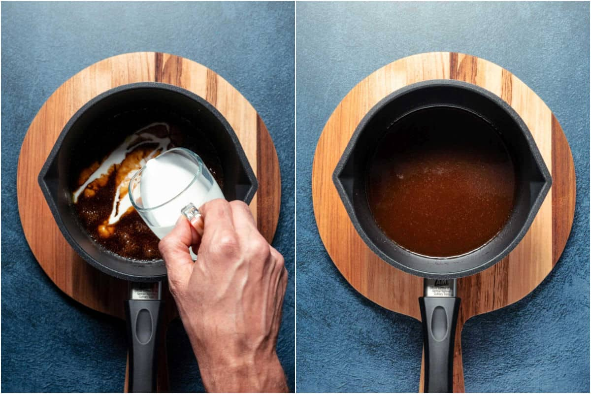 Two photo collage showing coconut cream added to saucepan and mixed in.