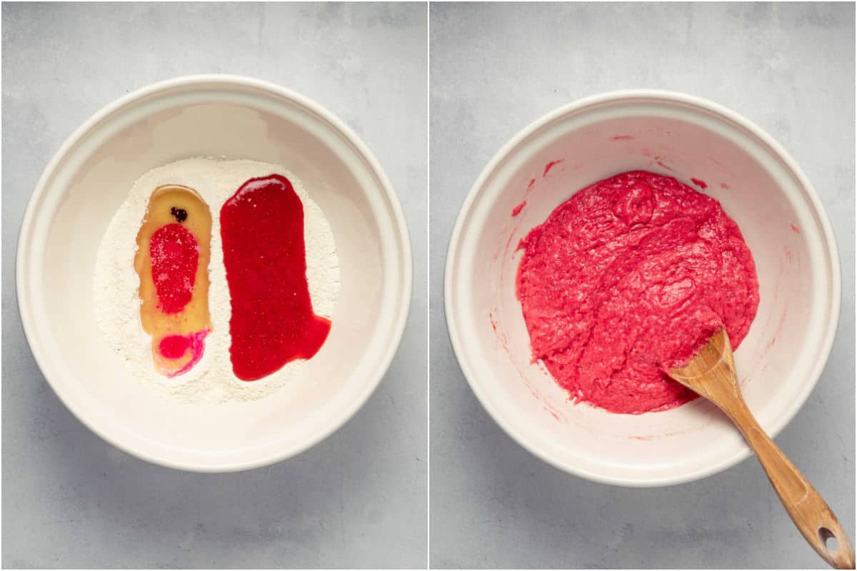 Two photo collage showing wet ingredients added to mixing bowl and mixed into a batter.