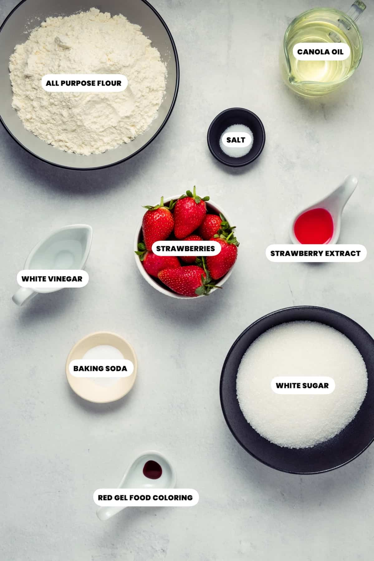 Photo of the ingredients needed to make vegan strawberry cake.