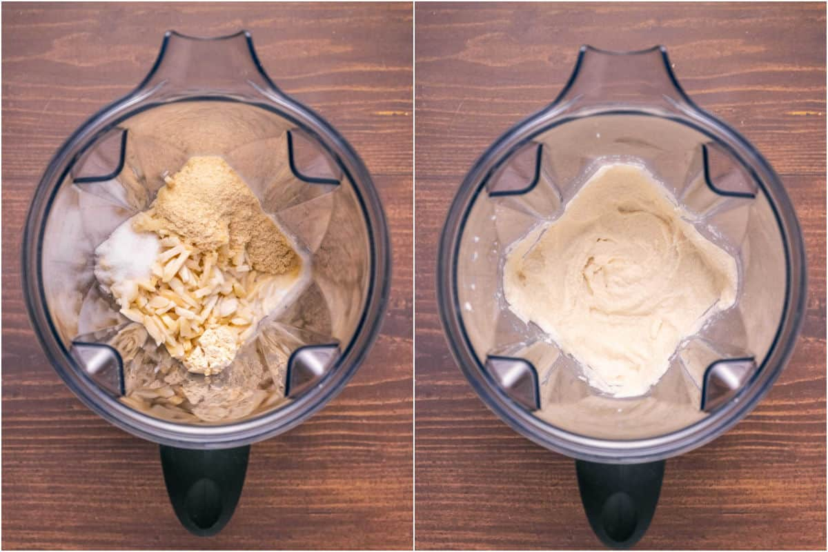 Two photo collage showing ingredients in blender and then blended.