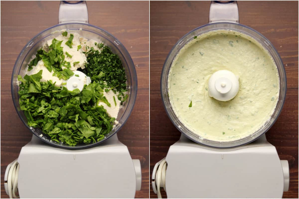 Two photo collage showing ingredients in a food processor and then processed.