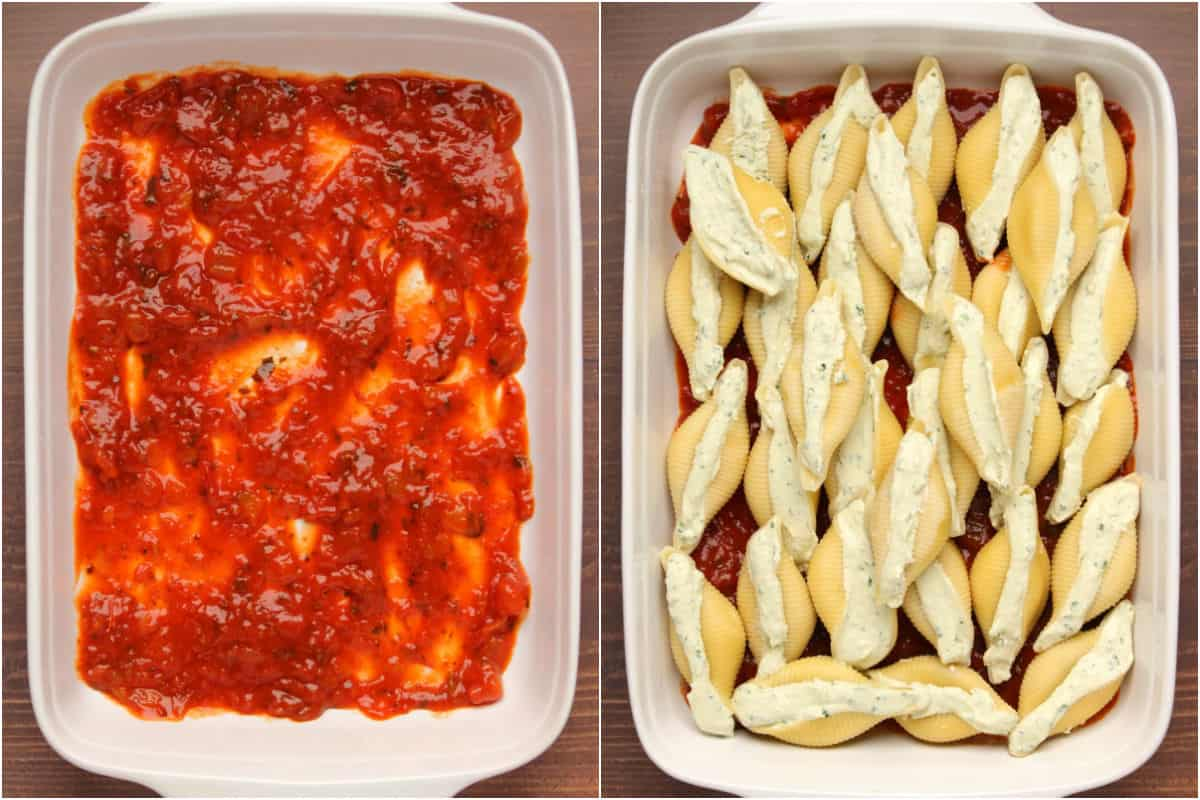 Two photo collage showing marinara sauce in a baking dish and topped with stuffed shells.