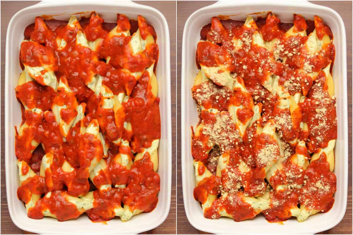 Two photo collage showing baked stuffed shells and then topped with vegan parmesan.