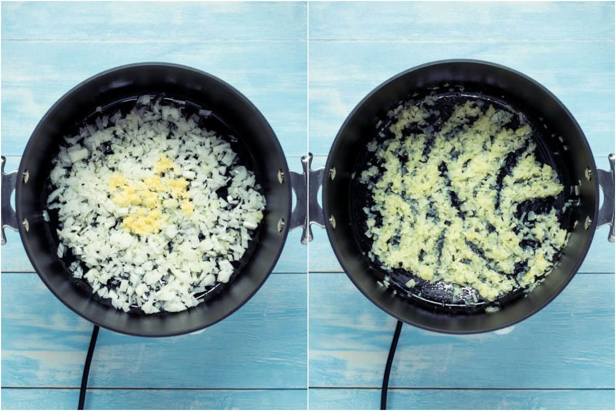 Collage of two photos showing chopped onion, olive oil and garlic in a pot and then sautéed together.