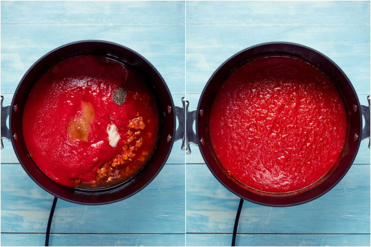 Two photo collage showing crushed tomatoes, vodka, salt, black pepper, brown sugar added to pot and mixed in.