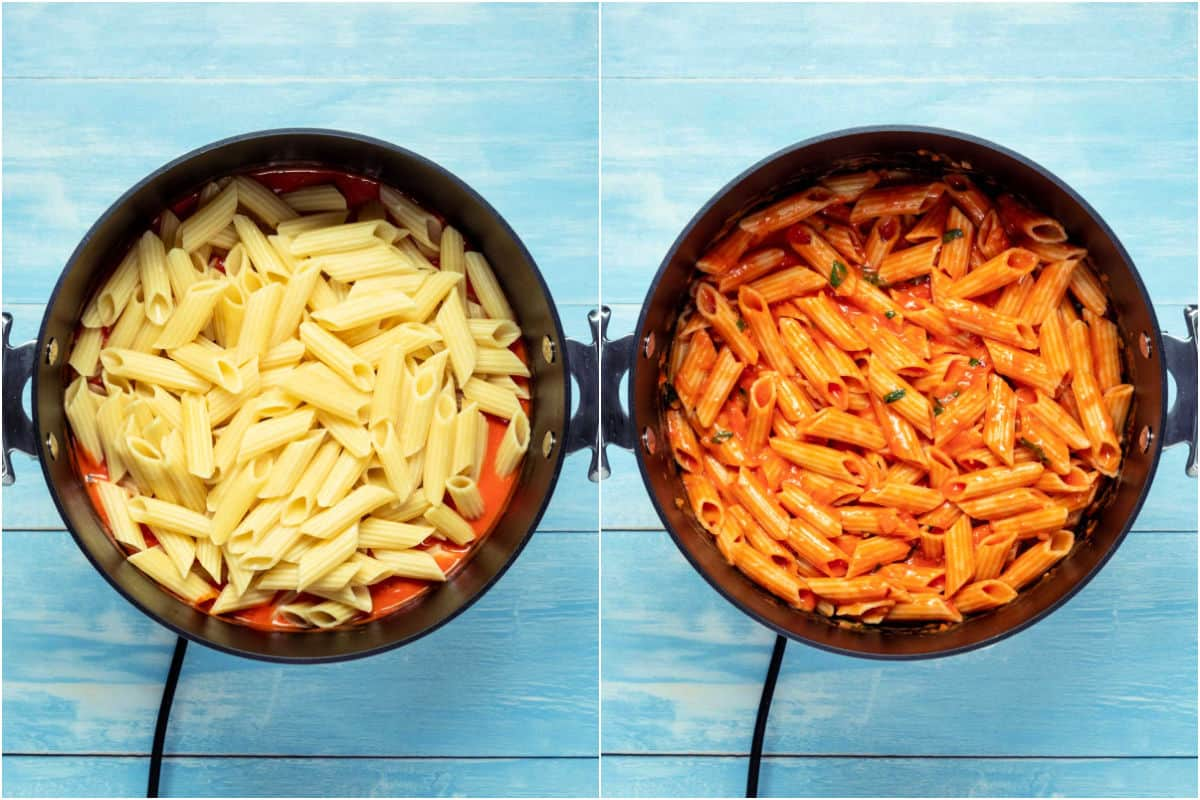 Two photo collage showing penne added to pot and mixed in with the sauce.