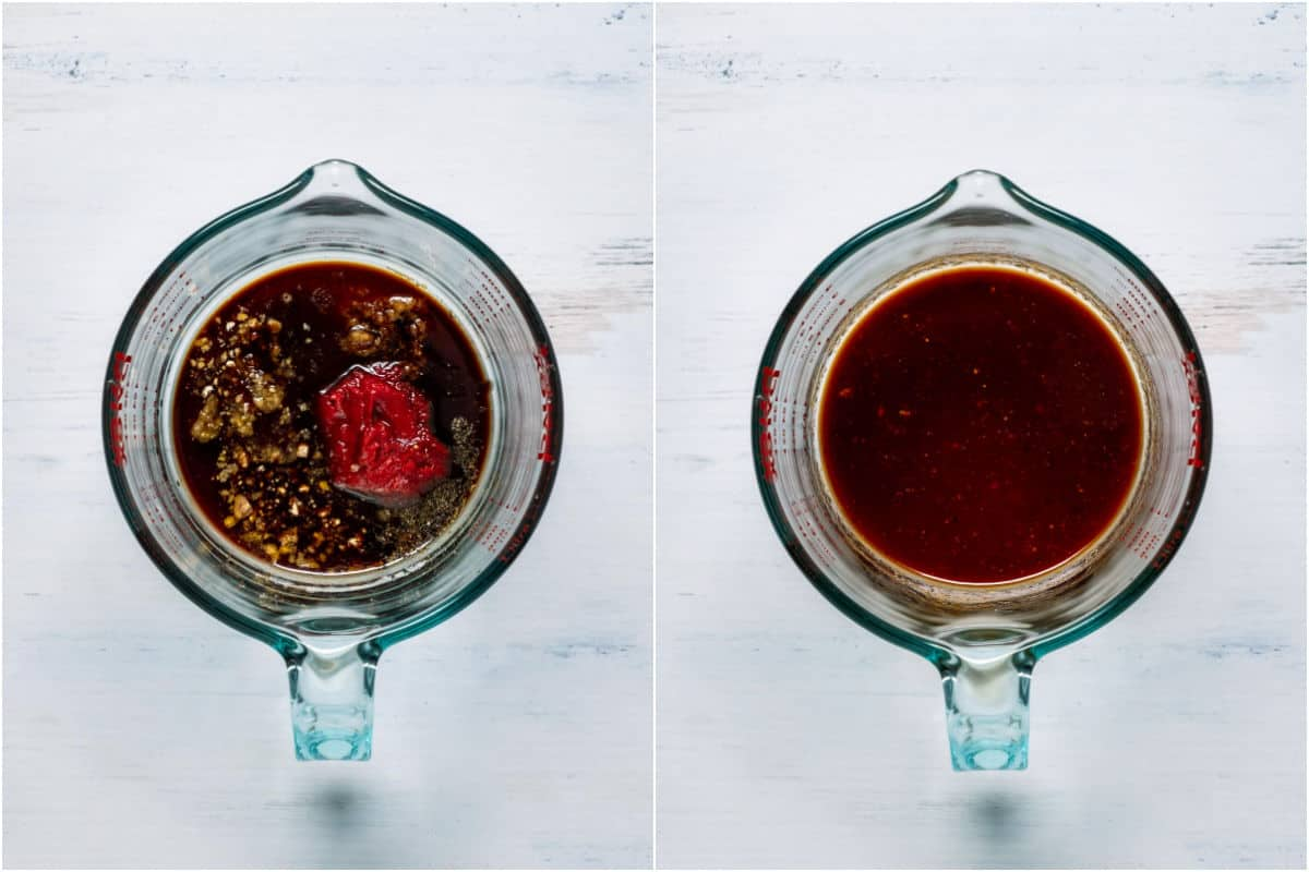 Two photo collage showing marinade ingredients in a measuring jug and then mixed together.