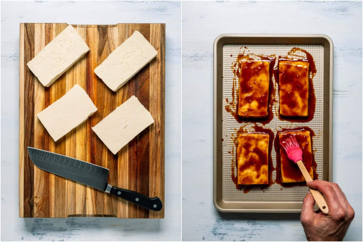 Two photo collage showing tofu cut into steak shapes and then brushed with marinade sauce.