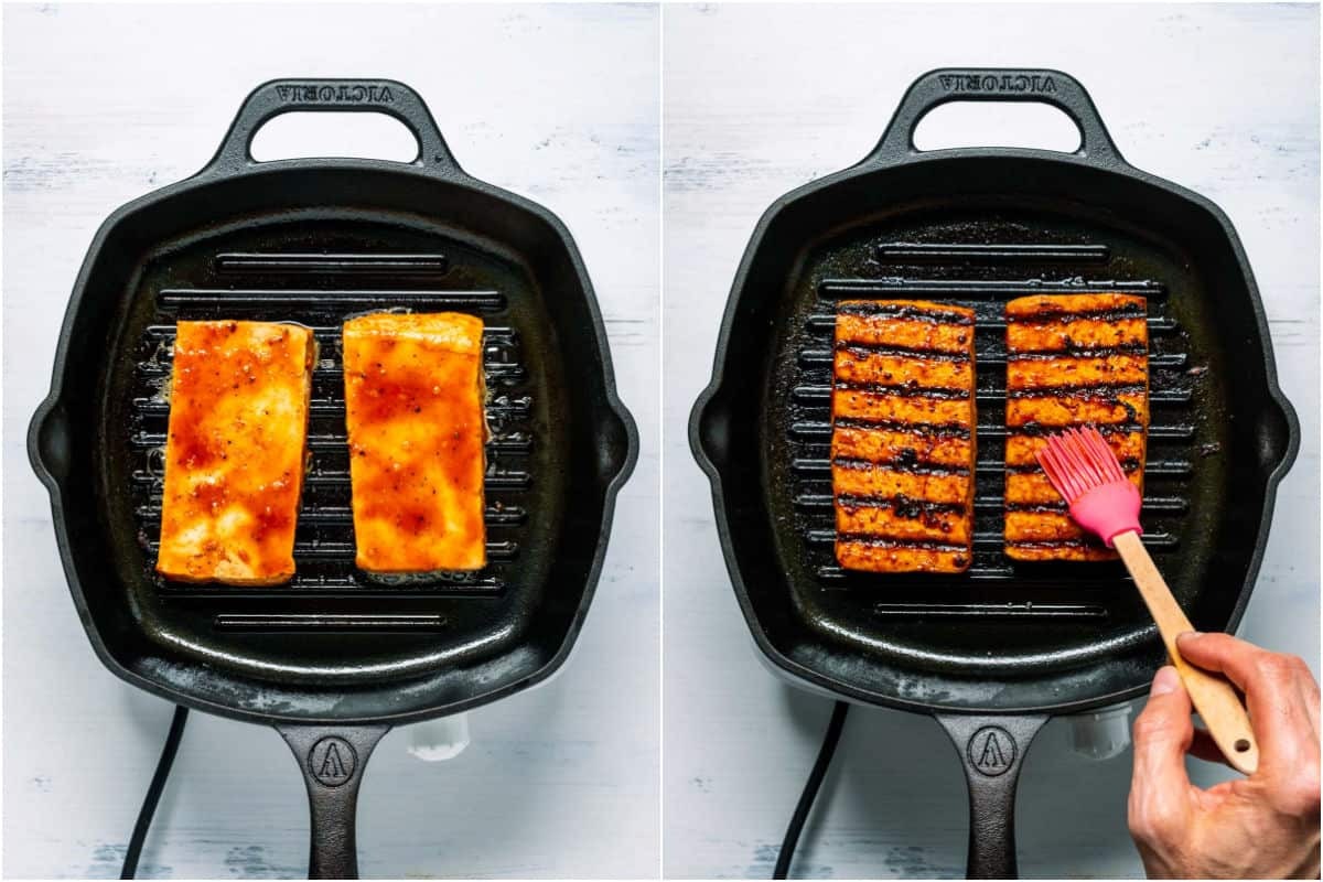Two photo collage showing tofu steaks cooking in grilled pan and then flipped over.