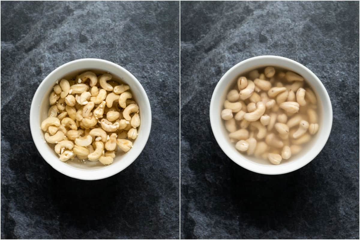 Two photo collage showing cashews in a bowl with water added and then after an hour of soaking.