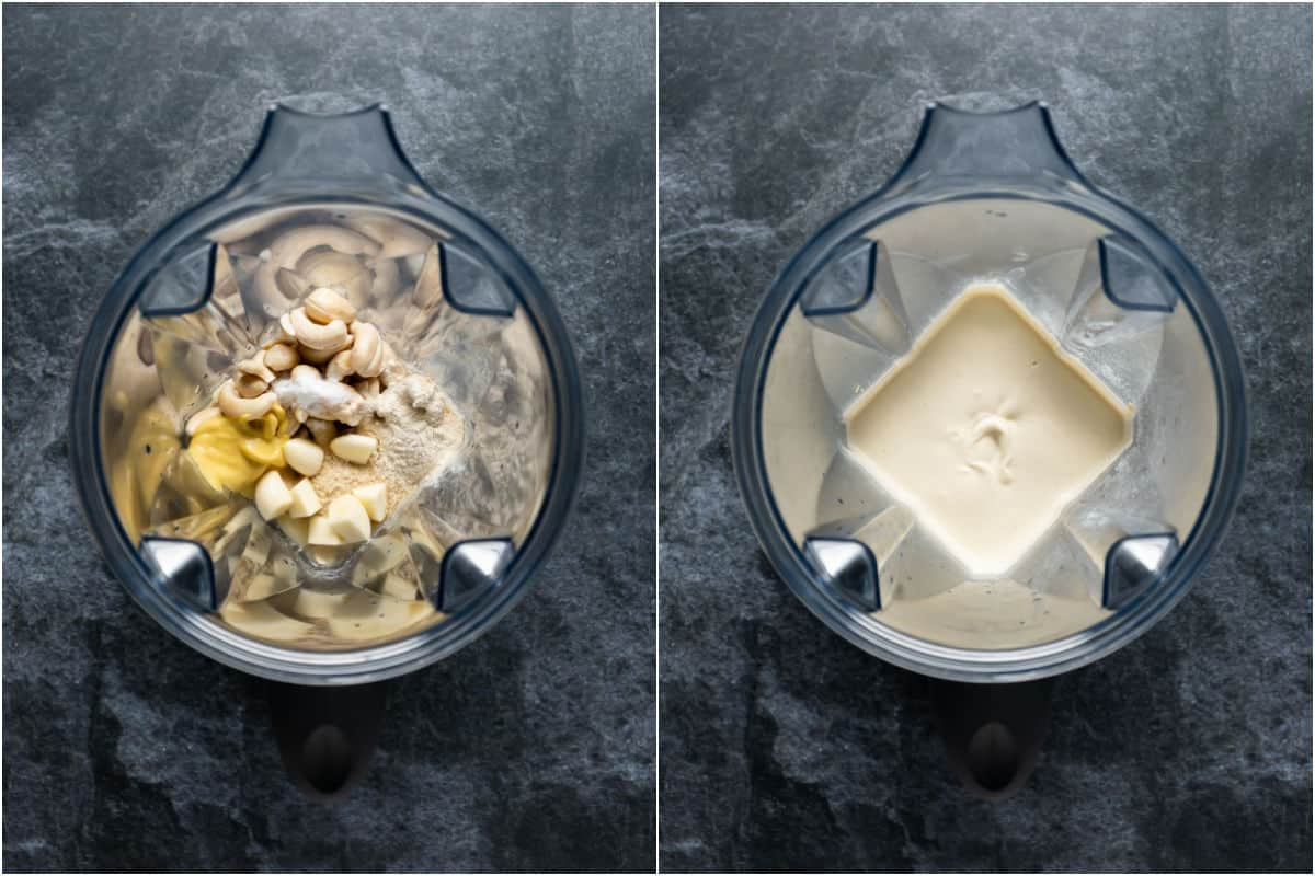 Two photo collage showing ingredients added to blender jug and blended.