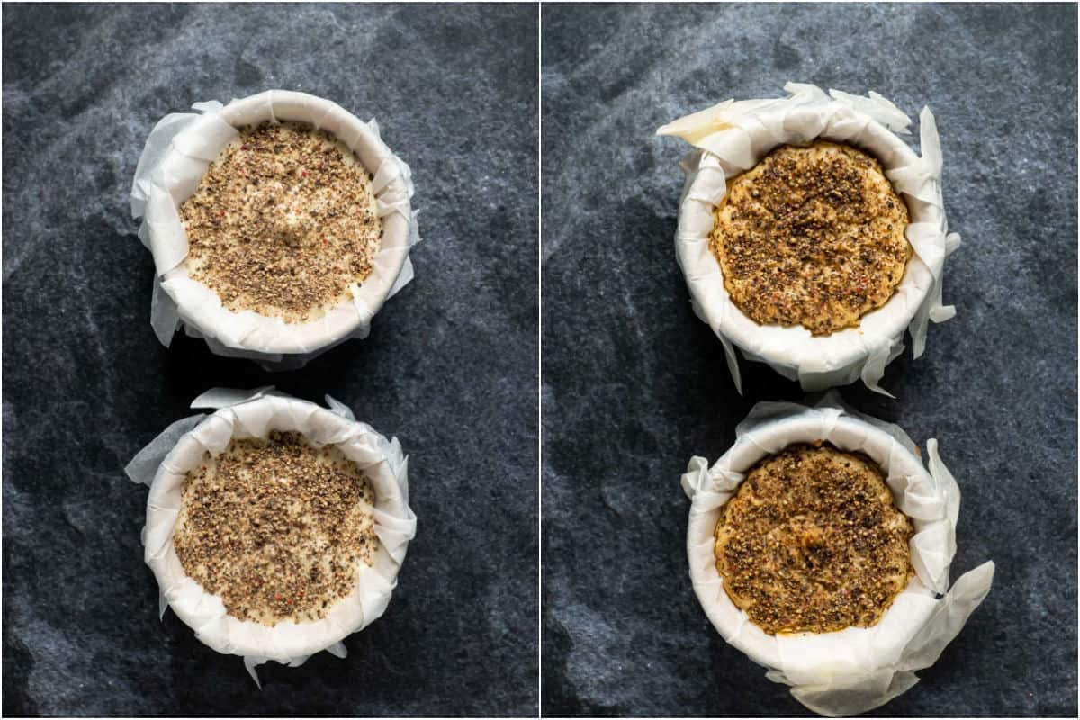 Two photo collage showing black pepper added to the top of the camembert and then baked.