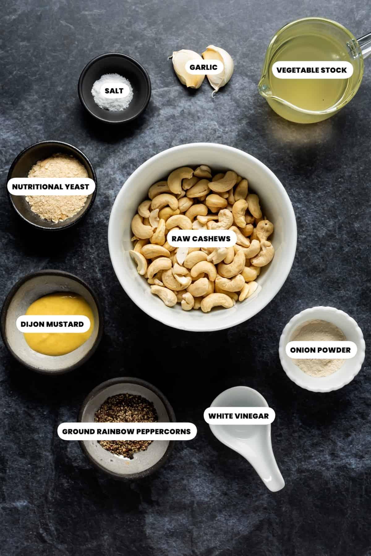 Photo of the ingredients needed to make vegan camembert.