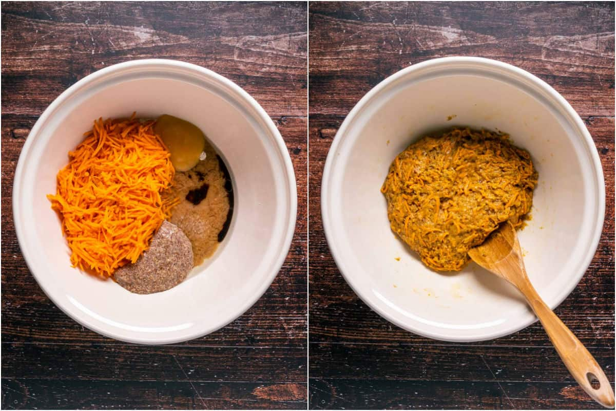 Two photo collage showing wet ingredients added to dry and mixed into a thick carrot cake batter.